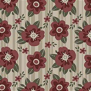 Tecido Estampado - Floral Utah - Bege 0,50cm x 1,40m