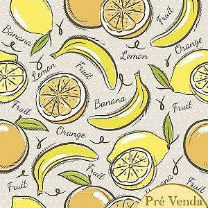 TECIDO YELLOW FRUITS TRICOLINE 100% ALGODÃO 0,50 POR 1,50 LARGURA