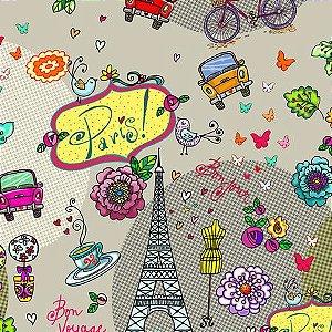 Tecido Eu amo Paris digital 100% algodão