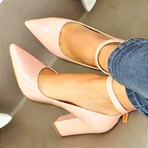 Sapato Scarpin Verniz Nude