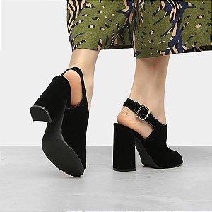 Sandália Ankle Boot Nobuck Preto