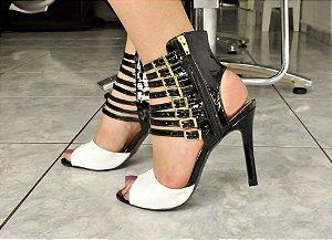Sandália Preta Salto Fino De Luxo