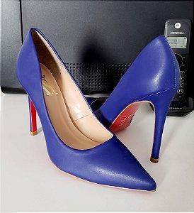 Scarpin Azul Solado Vermelho