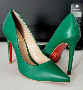 Scarpin Verde Solado Vermelho