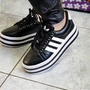 """Tênis By Anny Shoes """"Adidas"""" Plataforma Solado Listrado Preto e Branco"""