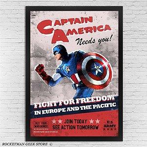 Poster Com Moldura Capitão América Vintage