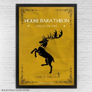 POSTER COM MOLDURA HOUSE BARATHEON GAME OF THRONES