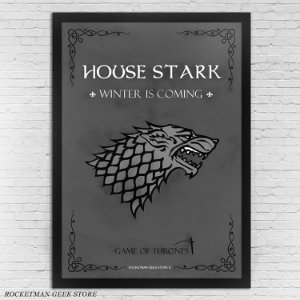 POSTER COM MOLDURA HOUSE STARK GAME OF THRONES