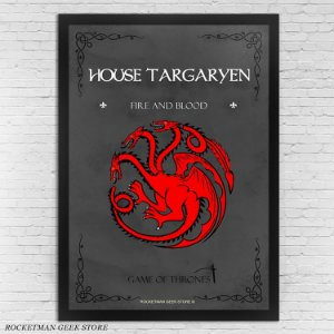 POSTER COM MOLDURA HOUSE TARGARYEN GAME OF THRONES
