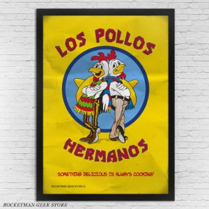 POSTER COM MOLDURA LOS POLLOS HERMANOS BREAKING BAD