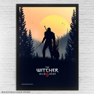 POSTER COM MOLDURA GERALT THE WITCHER