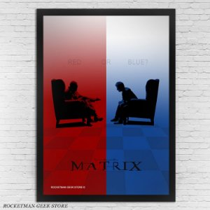 POSTER COM MOLDURA MATRIX RED OR BLUE