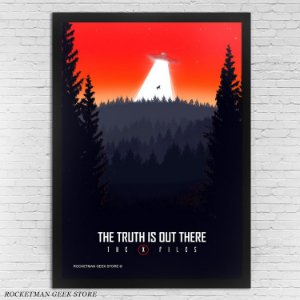POSTER COM MOLDURA THE TRUTH IS OUT THERE ARQUIVO X