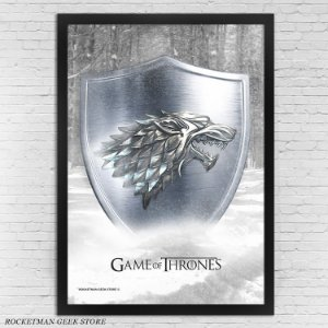 POSTER COM MOLDURA GAME OF THRONES STARK