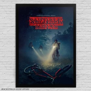 POSTER COM MOLDURA STRANGER THINGS BIKE