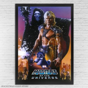 POSTER COM MOLDURA MASTERS OF THE UNIVERSE HE MAN