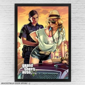 POSTER COM MOLDURA GTA V ARRESTED GIRL