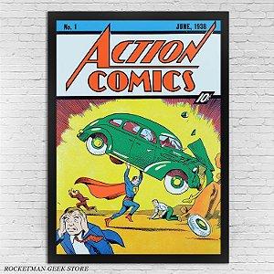 POSTER COM MOLDURA ACTION COMICS N1 SUPERMAN