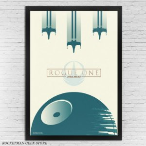 POSTER COM MOLDURA STAR WARS ROGUE ONE MINIMALISTA
