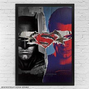 POSTER COM MOLDURA BATMAN VS SUPERMAN CARTAZ