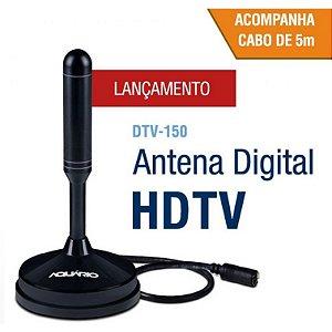 Antena Digital para tv interna e externa com Cabo 5 Metros e base imã DTV-150 AQUARIO
