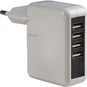 carregador de parede com 4 saídas usb branco Ebolt R23562S