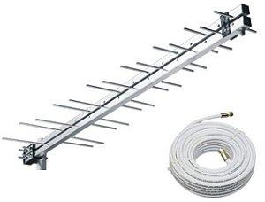 KIT ANTENA DIGITAL 14 ELEMENTOS HDTV/UHF/VHF DIGITAL E ANALOGICO + 10 metros cabo