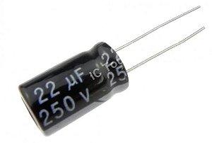 Capacitor eletrolítico de 22uF / 250V ideal para cornetas