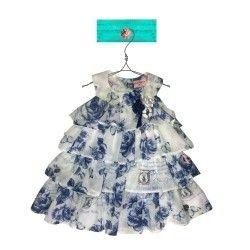 Vestido florido branco e azul Leona