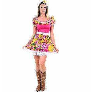 Vestido de festa junina adulto rosinha