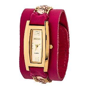 Relógio EF Bracelete Corrente com Pedras, Feminino.
