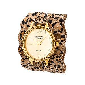 Relógio EF Bracelete Vazado Onça, Feminino.