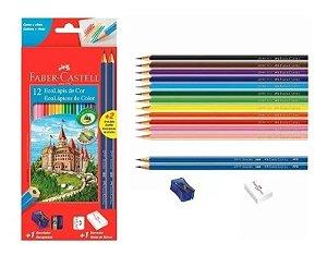 Lápis de cor 12 cores + 2 Lápis preto + 1 Borracha + 1 Apontador - Faber Castell