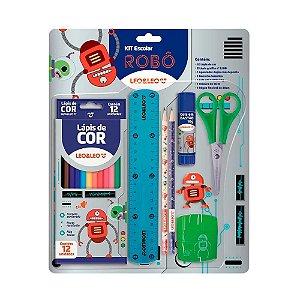 Kit escolar robô c/8 itens
