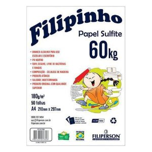 Papel Sulfite 60 A4 180g c/50 folhas Branco - Filiperson