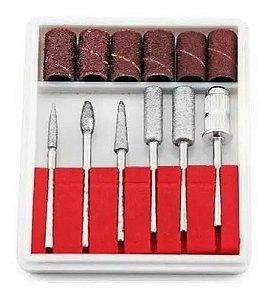 Brocas para lixa elétrica de unha mais Drill kit com 6 unidades