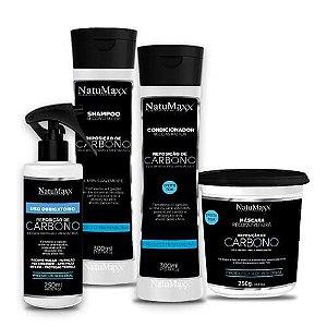 Kit Carbono - Shampoo 300ml + Condicionador 300ml + Máscara 250g + Uso Obrigatório 250ml NatuMaxx