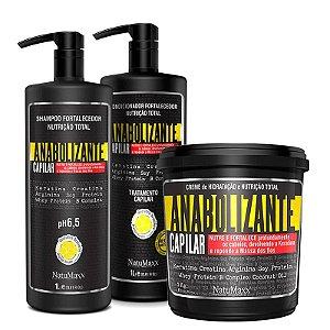 Kit Fortificante Capilar - Shampoo 1 Lt + Condicionador 1 Lt + Máscara 1 kg NatuMaxx