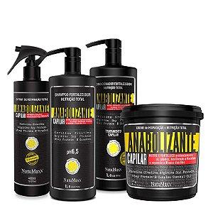Kit Fortificante Capilar - Shampoo 1 Lt + Condicionador 1 Lt + Máscara 1 kg + Spray de Reparação 400 ml NatuMaxx