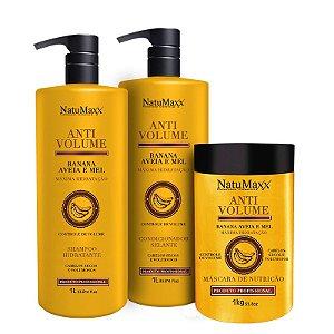Kit AntiVolume - Shampoo 1 lt + Condicionador 1lt + Máscara 1 kg NatuMaxx