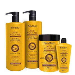 Kit AntiVolume - Shampoo 1 lt + Condicionador 1lt + Máscara 1kg + Leave-in 300 ml  NatuMaxx