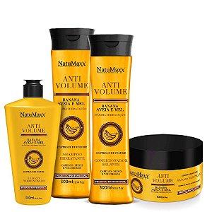 Kit AntiVolume - Shampoo 300ml + Condicionador 300ml + Máscara 300g + Leave - in 300 ml NatuMaxx