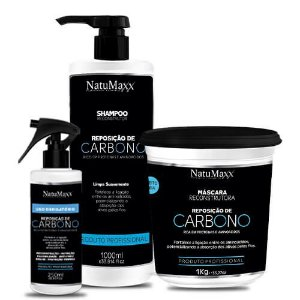 Kit Carbono - Shampoo 1Lt + Máscara1 KG + Uso Obrigatório 250ml NatuMaxx