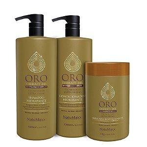 Kit Oro Therapy - Shampoo 1lt + Condicionador 1lt + Máscara 1 kg NatuMaxx
