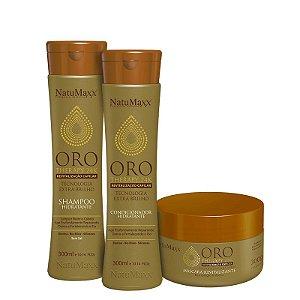 Kit Oro Therapy - Shampoo 300ml + Condicionador 300ml + Máscara 300g  NatuMaxx