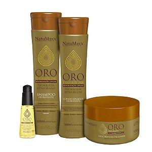 Kit Oro Therapy - Shampoo 300ml + Condicionador 300ml + Máscara 300g + Sérum 60ml NatuMaxx