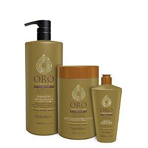 Kit Oro Therapy - Shampoo 1lt + Máscara 1kg + Leave in 300ml  NatuMaxx