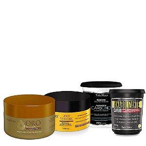 Cronograma - AntiVolume 300g + Fortificante 300g + Oro Therapy 300g + Carbono 300g NatuMaxx