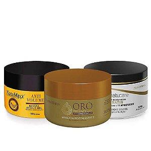 Cronograma AntiVolume 300g + Keratin 300g + Oro Therapy 300g NatuMaxx