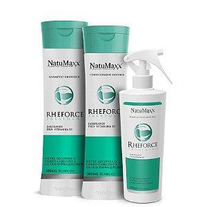 Kit RheForce - Shampoo 300ml + Condicionador 300ml + Loção 300ml NatuMaxx
